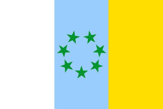 Questa bandiera viene sventolata dai rappresentanti di Alternativa Nazionalista Canaria.
