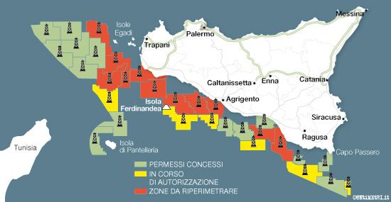 Mappa dell'estrazione di petrolio siciliano