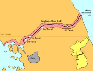 Mappa della zona demilitarizzata coreana