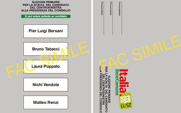 Facsimile scheda elezioni primarie