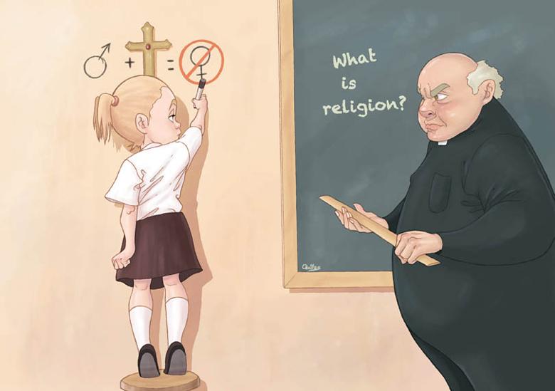Luis Quiles fa satira sulle religioni, soprattutto sul cristianesimo