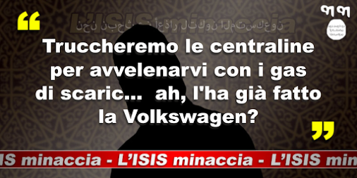 Minaccia satiricamente attribuita all'ISIS dopo lo scandalo Volkswagen