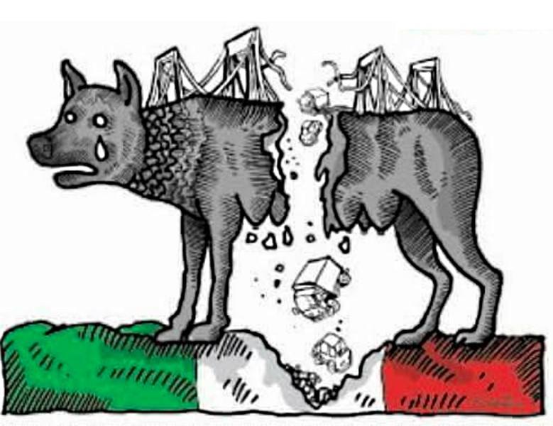 immagine di Le Monde in merito al crollo del Viadotto Polcevera