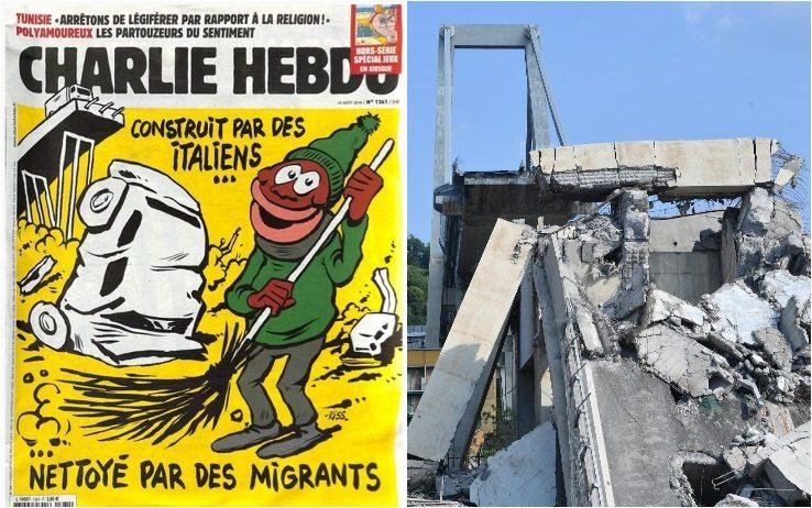 vignetta di Charlie Hebdo sul Viadotto Polcevera