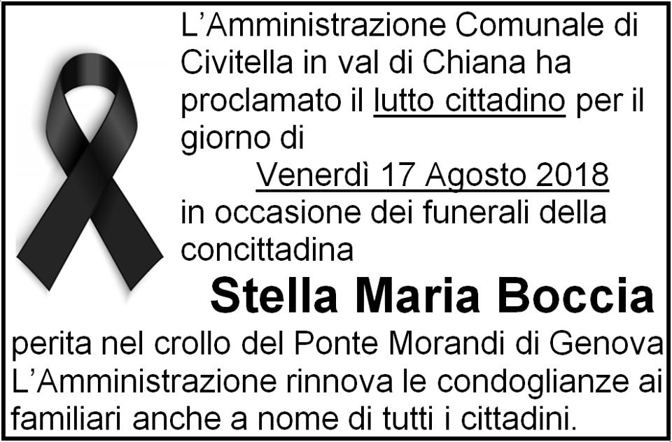 annuncio del decesso di Stella Maria Boccia, uccisa dal crollo del Viadotto Polcevera
