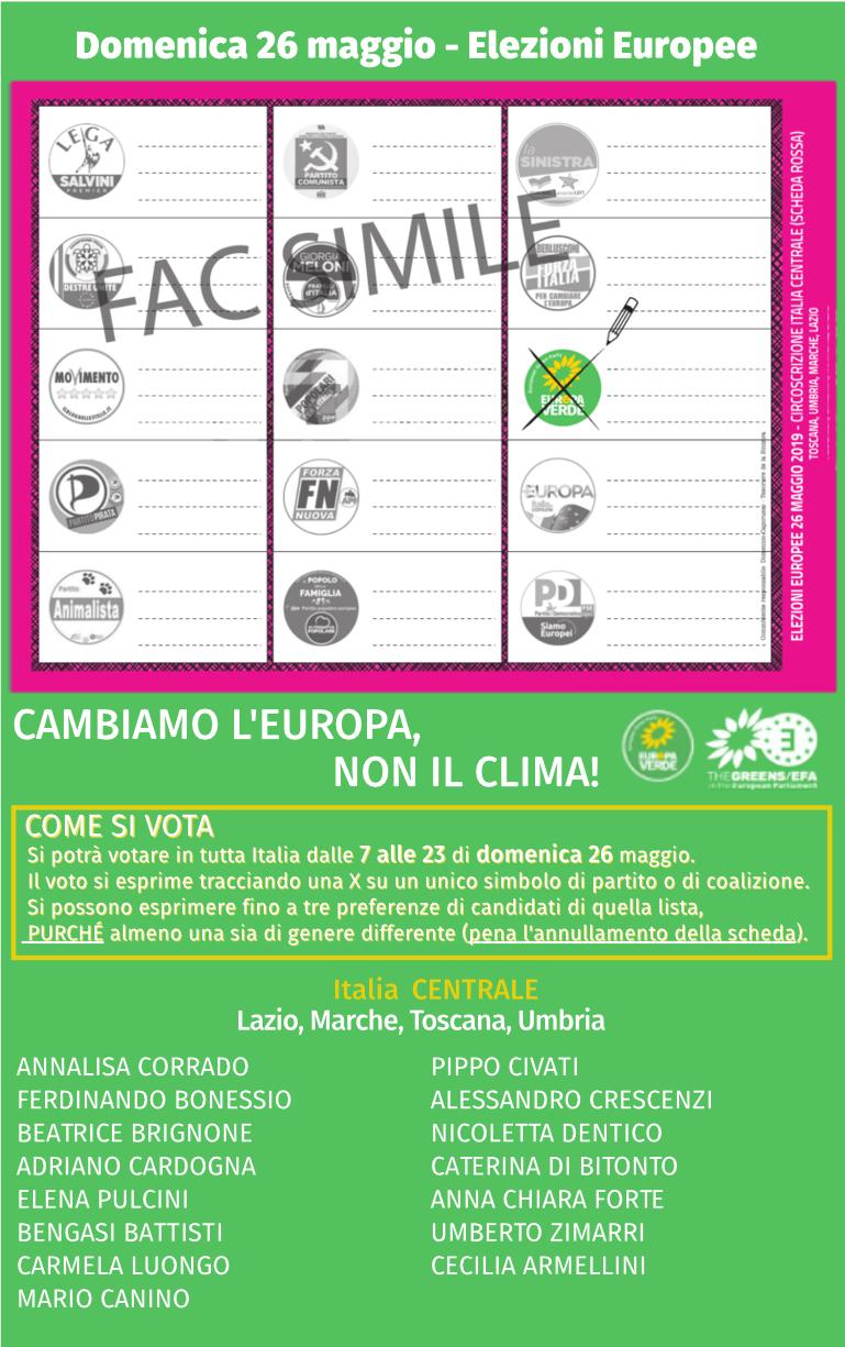 fac-simile scheda elettorale Europa Verde